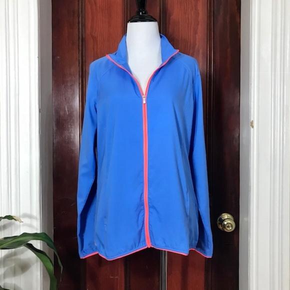 NWT Adidas blue & pink full zip windbreaker jacket